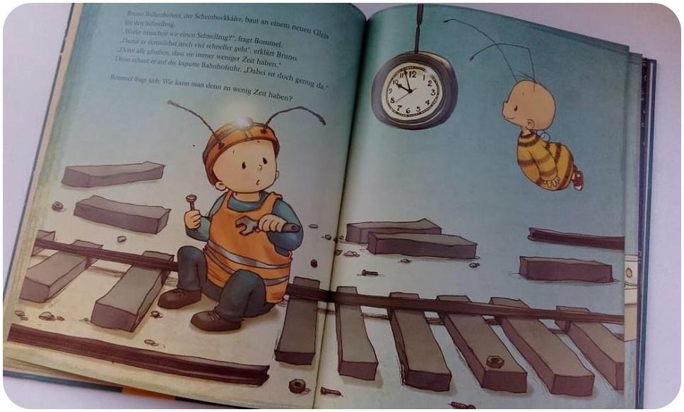 """alt=""""Illustration - Die kleine Hummel Bommel und die Zeit"""""""