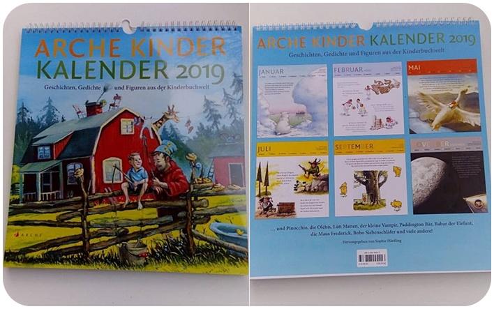 """alt=""""Arche Kinder Kalender 2019 Vorder- und Rückseite"""""""